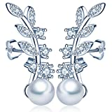 Yumi Lok perlas de plata de ley 925con Circonita hojas pendientes Clip Pendientes Ear Puños para mujer mujeres niña