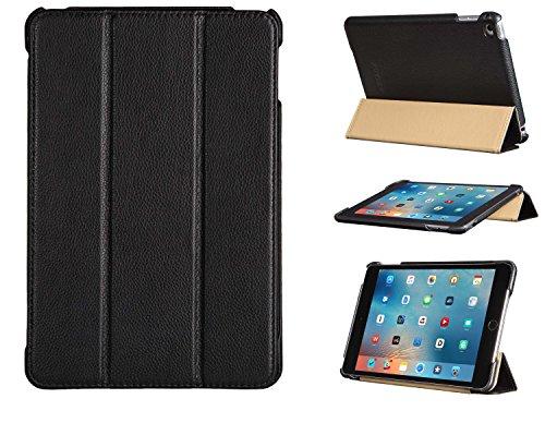FUTLEX Smart Cover Case Vera Pelle per iPad Mini 4 - Nero - Pelle pieno fiore - Design unico - Differenti posizioni - Funzione Accensione/Spegnimento automatico - Lavorata a mano - 100% Vera pelle - Massima protezione