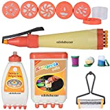 Odishabazaar Ready to Draw Rangoli Making Kit:1 Rangeela patta + 1 Galicha Rangoli Patta + 1 Rangoli Pen + 1 Rangoli Roller + 3 Filler + 1 set 6 Design Stamp
