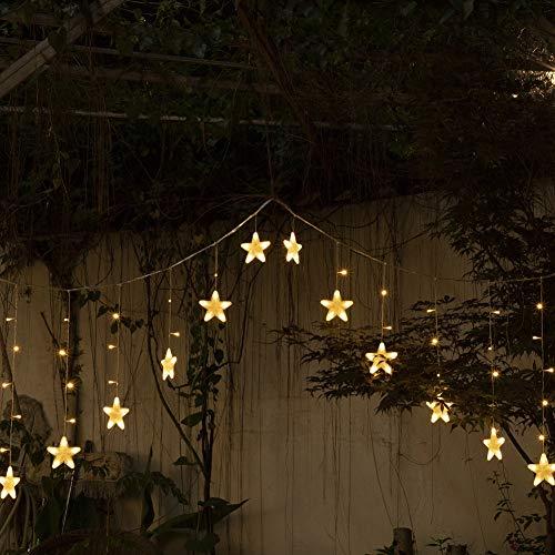 DINGYUFA Stern-Vorhang Lichter, 16 Sterne 136 LED-Vorhang-Schnur-Licht-Lichterketten