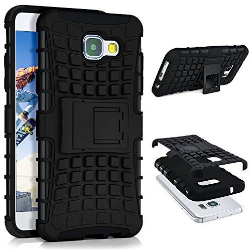 Hard Bumper Case Cover (Samsung Galaxy A5 (2016) Hülle Silikon Hard-Case Schwarz [OneFlow Outdoor Back-Cover] Extrem Stoßfest Schutzhülle Grip Handyhülle für Samsung Galaxy A5 2016 Case Rückseite Tasche)