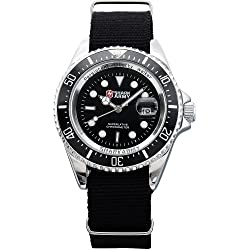 Shark Army Mens Black Nylon Date Military Luminous Sport Quartz Watch + Box