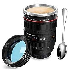 Idea Regalo - SLOSH Tazza Viaggio caffè Obiettivo Camera Lens Tazza Auto Ufficio Acciaio Inox Tumbler Travel Mug Tazze Macchina Fotografica Mug Bpa Free Tumbler Cup