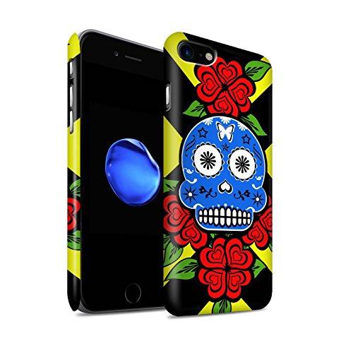 STUFF4 Matte Snap-On Hülle / Case für Apple iPhone 8 / Gelb Muster / Süßigkeiten Schädel Kollektion Blaue/Rose