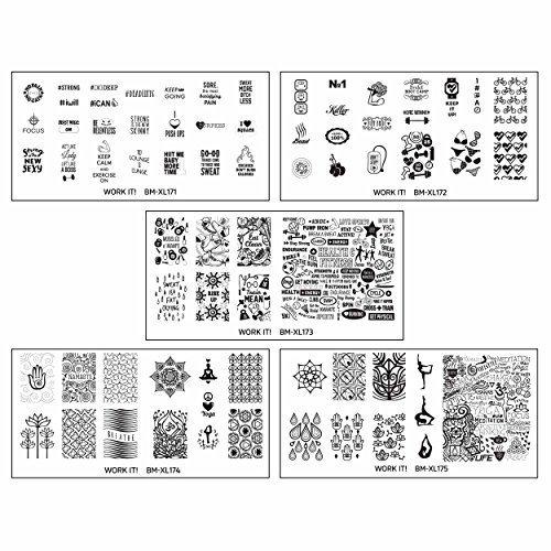 BMC Mignon Thème Sports Art Pour Les Ongles Cachet XL Ensemble De Plaques : Travail It! Collection - Acier inoxydable, Ensemble 1 - Gym Junkie, X-Large, X-Large