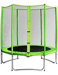 SixBros. Sixjump 1,85 M Trampoline de jardin vert - Filet de sécurité - TG185/1569