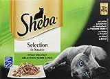 Sheba Katzen-/Nassfutter Multipack Sauce Feine Vielfalt, 48 Portionsbeutel (4 x 12 x 85 g)