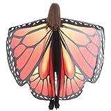 WOZOW Damen Schmetterling Schmetterlingsflügel Kostüm Faschingkostüme Schal Tuch Poncho Umhang für Party Cosplay Karneval Fasching (Dunkelblau 2)