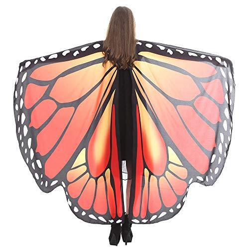 WOZOW Damen Schmetterling Schmetterlingsflügel Kostüm Faschingkostüme Schal Tuch Poncho Umhang für Party Cosplay Karneval Fasching (Dunkelblau (Engel Des Todes Kostüm Frauen)