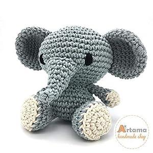 Elefant Grau – Amigurumi – Gefüllte Puppe – Gehäkelte – Handgefertigt – Embroidered eyes – Artama