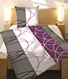 S.Ariba Bettwäsche-Set Baumwolle Garnitur in vielen Qualitäten und Größen mit Marken Reißverschluss (Microfaser 155x220 cm 2tlg, Lila Weiss)