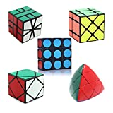 HJXDtech- 5 diferentes cubo mágico anormal conjunto de 1x3x3 Mastermorphix Skewb Fisher Square-1 rompecabezas profesional cubos