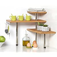 Etagère d'angle en Bambou et INOX - Cuisine - Salle de Bain ou sur Un Bureau - Idéal pour Gagner de la Place