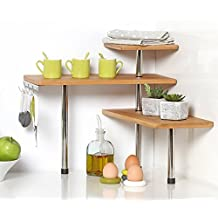 Bamboo and Stainless Steel Corner Shelf Unit – Kitchen – Bathroom – Desktop – Perfect space-saving idea. by Secret de Gourmet
