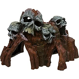 Blue Ribbon Exotic Environments Skull Mountain Aquarium Ornament, Small, 5-1/2-Inch by 6-Inch by 6-Inch 7