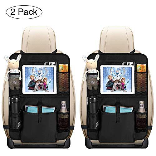 Auto Rückenlehnenschutz, opamoo 2 Stück Auto Rücksitz Organizer für Kinder, Große Taschen und iPad-/Tablet-Fach, Wasserdicht Autositzschoner, Kick-Matten-Schutz für Autositz -