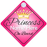 Princess On Board Pink with Crown (001) Personalised Car Sign New Baby Girl / Child Gift / Present