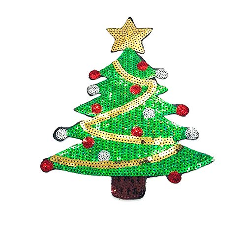 Rocita Aufnäher Patches zum aufbügeln Patch Sticker mit Pailetten Niedlich DIY Kleidung Patches Aufkleber Weihnachten Thema für Jeans Shirts Pullover Kleidung und Taschen, Weihnachtsbaum