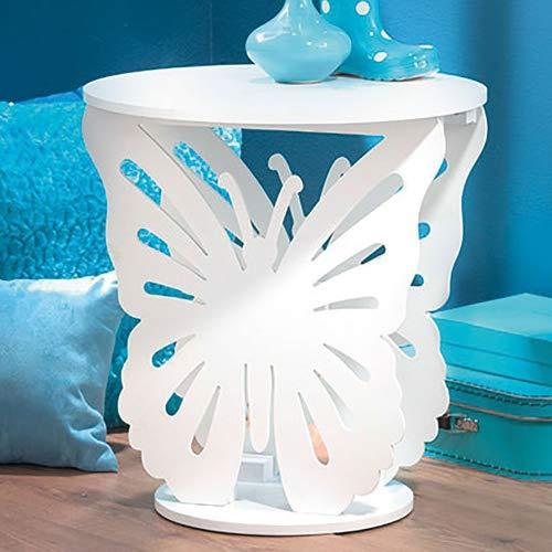 Top Home Solutions® Kinder Holz Schmetterling Runde Seite End Lampe Tisch Kids Mädchen Schlafzimmer weiß -