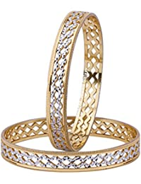 Jewels Galaxy Exclusive Sparkling Delicate Design Rhodium Plated Stunning Bangle Set For Women/Girls- Set Of 2