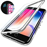 Elewelt Coque Magnétique pour iPhone 7 Plus/8 Plus, Housse Rigide en Verre Trempé avec Cadre de Pare-Chocs en métal avec aimants Intégrés, étui Ultra-Légère avec Protection à 360°[Blanc Clair]