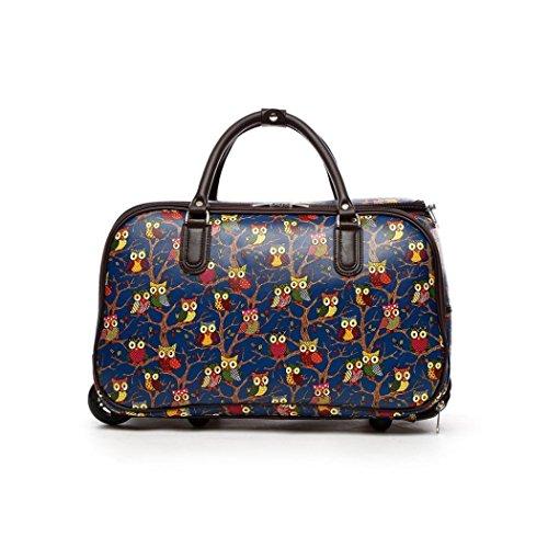 LeahWard Frauen Girl's Holdall Faux Leder Gepäck Tasche Hand Gepäck Reise Koffer Urlaub Taschen CW01 (S Schwarz Eule) S Blau Eule