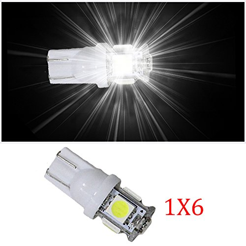Muchkey T10W2.1x 9.5d W5W Indicateur Lampes sans erreur CANBUS Super Bright Voiture LED Intérieur ampoules pour 02E10E9E21E36E46E30E24E34E39E12E28E23E32E38100101102103X3E83X5E53Z1Z3Blanc 6pcs 12V