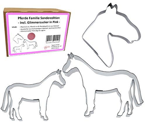 Ausstechformen Set Pferde Familie (Pferd 10 cm & 8 cm, Pferdekopf 8 cm) - Kinderleicht & Wunderschön