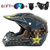 Adult Motocross Helm MX Motorradhelm ATV Scooter ATV Helm D. O. T Zertifiziert Rockstar Multicolor Mit Brillen Handschuhe Maske (S, M, L, XL),D,S