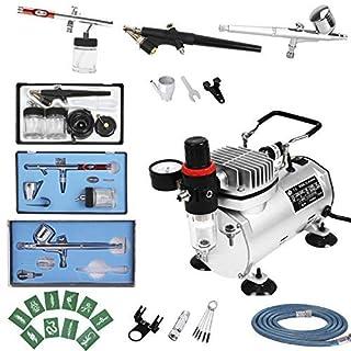 FOBUY Airbrush-System mit Airbrush-Sprühpistole für Handwerk, Kosmetik, Gerbung, Nägel, Tattoo, Nagelkunst, Modelle, Airbrushing, Malerei, Kuchendekoration, individuelle Kleidung