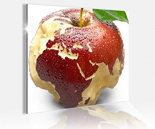 Acrylglasbild 50x50cm Apfel Europa Karte Afrika Weltkarte Glasbild Bilder Acrylglas Acrylglasbilder Wandbild 14C025, Acrylglas Größe3:50cmx50cm
