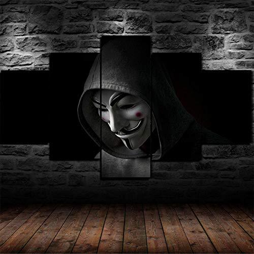 Yywife Moderne Wandbilder XXL Wohnzimmer Wohnkultur 5 teilige leinwandbilder XXL Kreatives Geschenk wanddeko Gerahmter anonymer Hacker im Sweatshirt Malerei