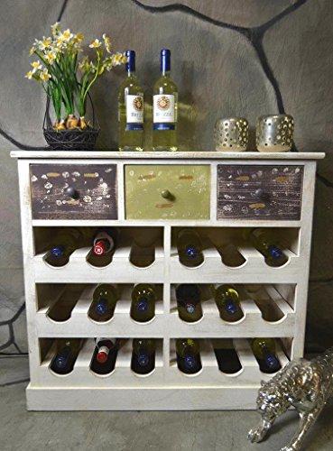 Livitat® Weinregal Weinschrank Flaschenregal Kommode Siedeboard Anrichte Holz Landhaus Shabby Chic Vintage LV1080