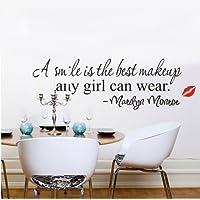 Romote Marilyn Monroe Una sonrisa es el mejor maquillaje de vinilo pegatinas mural arte de la etiqueta del papel pintado para el hogar / habitación / Oficina Nursery Decoración- The Perfect cumpleaños, Regalo de navidad