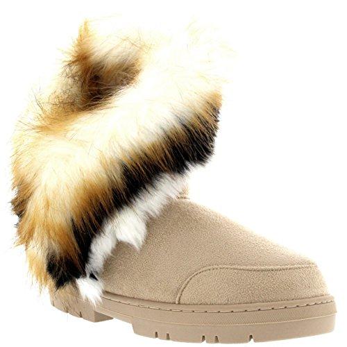 Damen Short Tassel Rabbit Pelz Gefüttert Winter Kaltes Wetter Schnee Regen Stiefel - Beige - BEI38 AEA0407 -