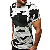 Jaminy Herren Sommer Beiläufig Kurzarm T-Shirt Muskel-Bluse Oben Casual Schlank Kurzarm Patchwork T-Shirt Top Bluse Herren Rundhals Modal T-Shirt Basic Slim Fit Kurzarm Shirt (Weiß, XL)