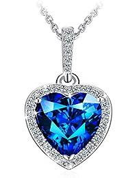 """Collar Mujer, J.Rosée Plata de Ley 925 Brillante Circonita Azul """"Corazón del Mar"""" Cadena 45cm-50cm Regalo Original para Amor"""