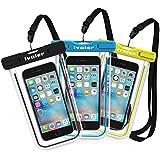[Certifiée IPX8] Pochette étanche, [3 pièces] iVoler Pochette Sac étanche Universel Waterproof Case Bag Housse Coque Etui pour Apple iPhone 7, 7 Plus,6s / 6, 6s Plus / 6 Plus, SE 5S 5C, Samsung Galaxy S8/S8+/S7/S7 Edge/S6/S6 Edge/Edge+, Note 5/4/3/Edge, Huawei P10/P10 Lite/P9/P9 Lite,ASUS, LG,Sony, Motorola et les Autres Smartphones de Taille Égale et Inférieure à 6'' ou les Monnaies , le Passeport etc, idéal pour natation, la plage, pêche, la randonnée, Garantie de 24 MOIS (Nior+Bleu+Vert)
