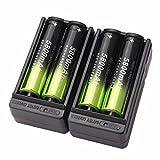 Amcool 4 Stck Wiederaufladbare Akkus Batterie,18650 5800mAh 3.7v Li-Ion + 2X intelligentes Aufladeeinheit Für LED Taschenlampe