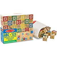 Melissa & Doug Deluxe Wooden ABC/123 Blocks Set With Storage Pouch (50 pcs; colours may vary)(LC)