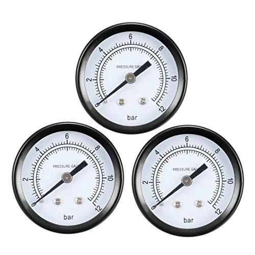 Npt Back Mount (ZCHXD Dry Pressure Gauge, 0-12 Bar Dual Scale, 1.8