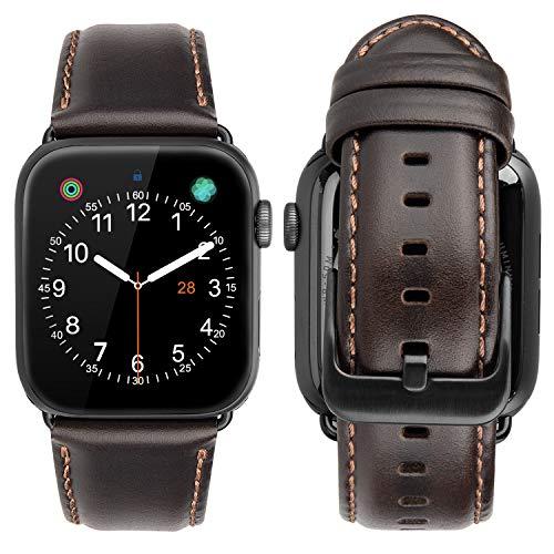 iBazal Lederarmband Ersatz für iWatch Series 4 Armband 44mm Leder 42mm Series 3 2 1 Lederband Uhrenarmband Armbänder Ersatzarmband Uhrarmband Watchband Ersatzband Uhr Band - Kaffee/Schwarz 42/44 Band Kaffee