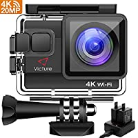 Victure 4K Action Camera 20MP UHD WIFI Camcorder 132ft Underwater Waterproof Cam Dual-battery Charger / Time-lapse / Anti-shaking / 4x Zoom / Some accessories / 170 Degree Wide View Angle 2 Inch LCD Screen