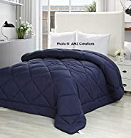 AMZ Ultra Soft Microfibre Reversible Comforter/Quilt/Duvet (Single Bed, 60 x 90 - iInches, Navy Blue )
