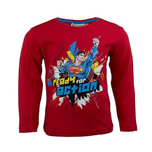 DC Comics Superman Kinder Langarmshirt aus 100% Jersey Baumwolle, Justice League Superhelden Langarm T-Shirt für Jungen - Shirt Farbe: Rot, Gr. 116