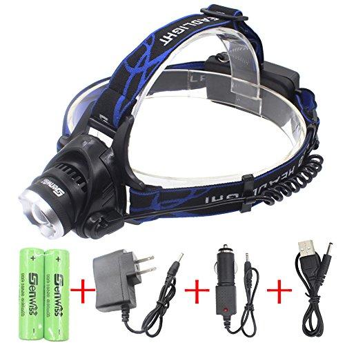 WolfWay impermeable LED faro con Zoomable 3 modos 3000 Lumens luz, Linterna Frontal con baterías recargables para camping Ciclismo Caza Pesca corriendo tiempo lluvioso