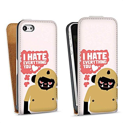 Apple iPhone 5s Housse Étui Protection Coque Monstre Phrases Amour Sac Downflip blanc