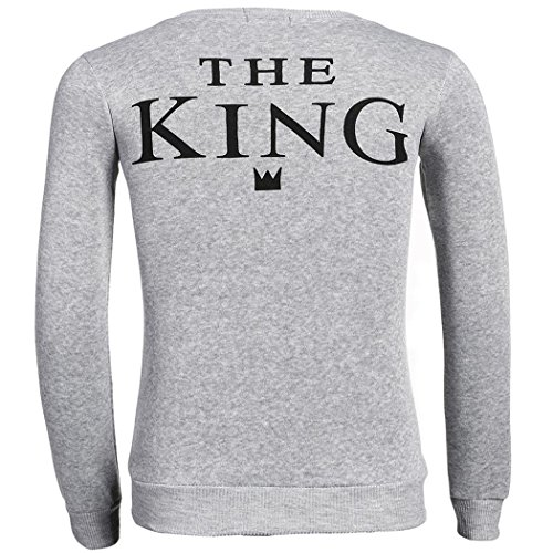 Lonlier Liebespaar Pullover Herren Damen Langarm King Queen Rundhals Sweatshirt Tops Grau Herren