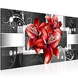 Bilder Blumen Lilien Wandbild 100 x 40 cm Vlies - Leinwand Bild XXL Format Wandbilder Wohnzimmer Wohnung Deko Kunstdrucke Rot 1 Teilig - Made IN Germany - Fertig zum Aufhängen 008612c