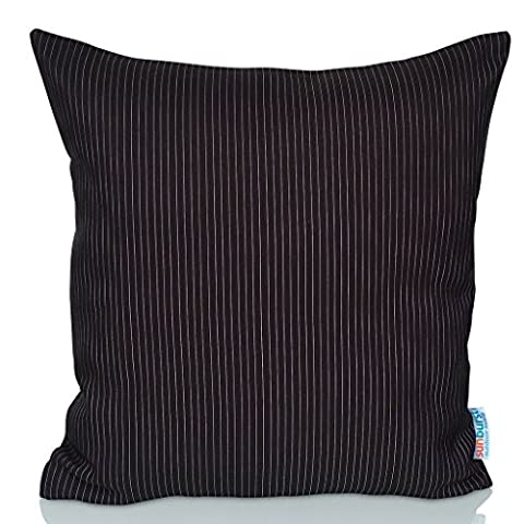 Sunburst Outdoor Living 50cm x 50cm (With Piping) BLACK STRIPE Decorative Throw Pillow Cushion Cover for Couch, Bed, Sofa or Patio - Only Case, No